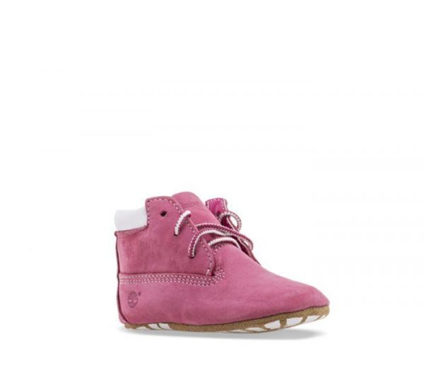 Timberland Crib Bootie Fuschia rose colour boots for toddlers perspective view