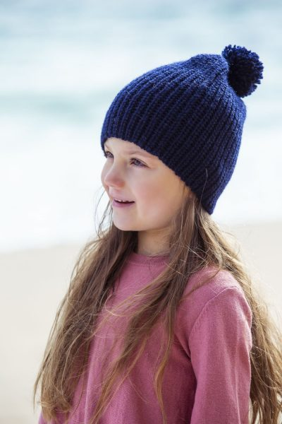 girl wearing navy beanie