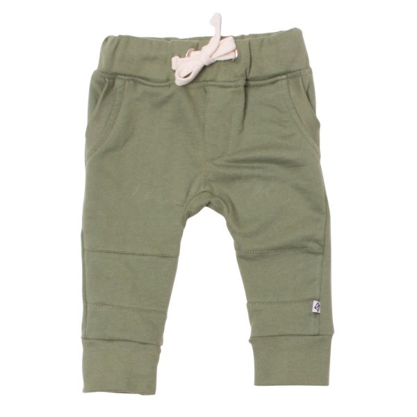 Neon Kite Kids Baby Trackies Knee Patch Olive