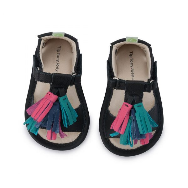 Tip Toey Joey Folksy Sandal - Black top