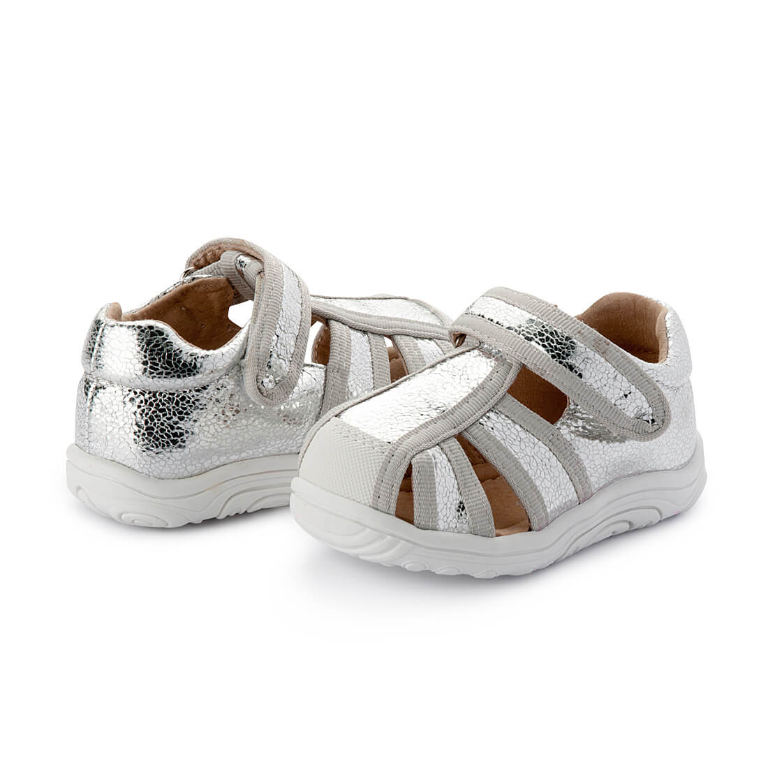 Walnut Bedford Sandal - Silver angle