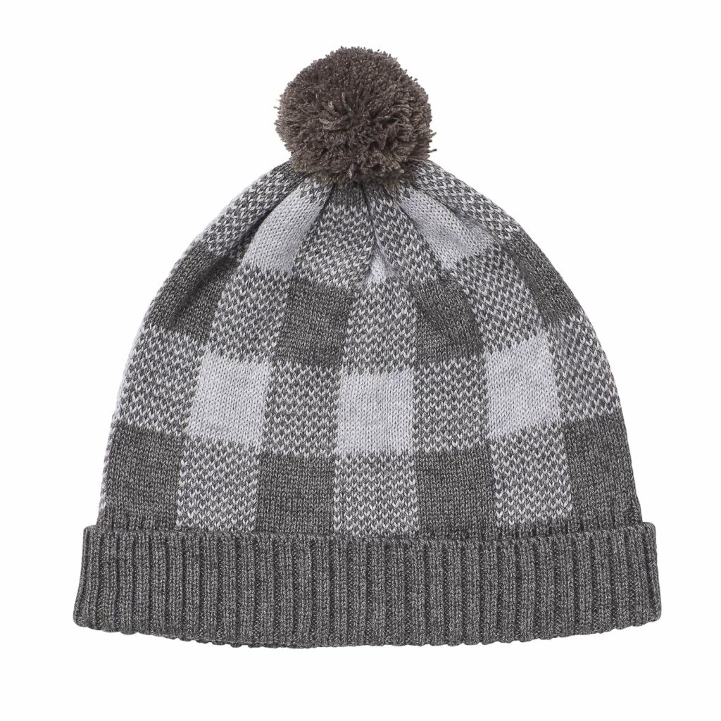 Acorn Kids Checks Beanie Grey Flat