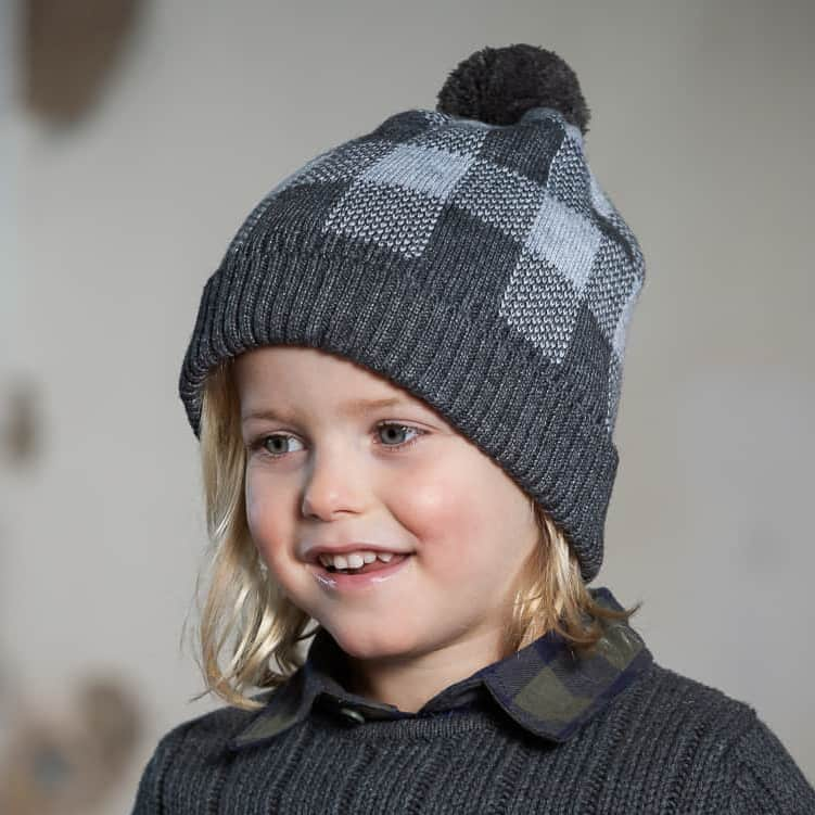 Acorn Kids Checks Beanie Grey Lifestyle