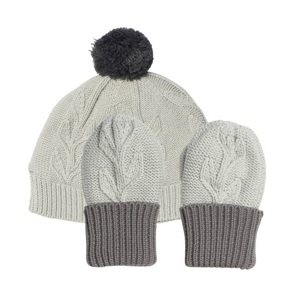 Acorn Kids Vines Infant Beanie Mitten Pack Grey Flat
