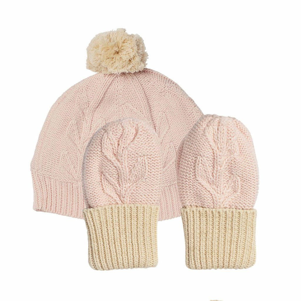 Acorn Kids Vines Infant Beanie Mitten Pack Pink