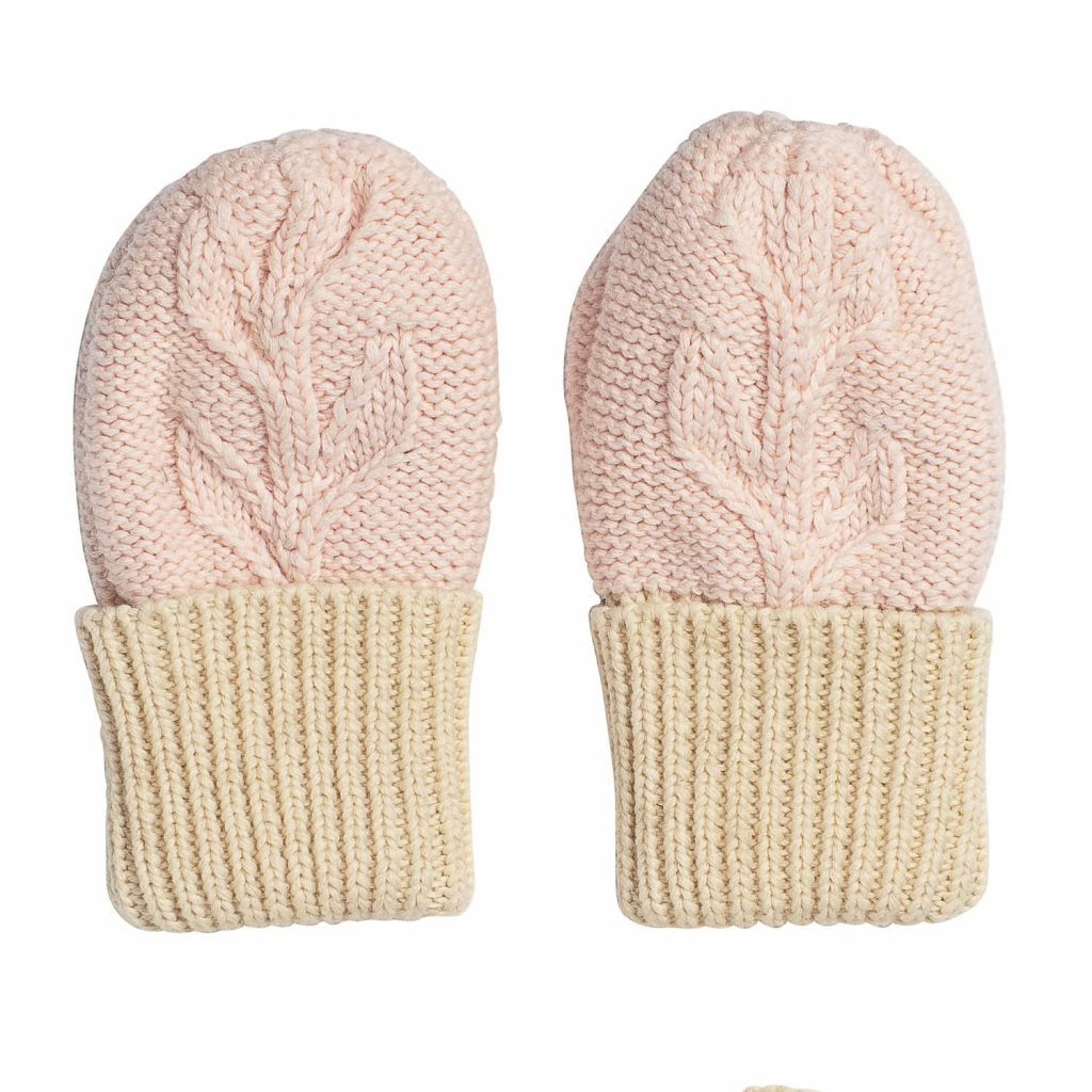 Acorn Kids Vines Infant Beanie Mitten Pack Pink Mittens