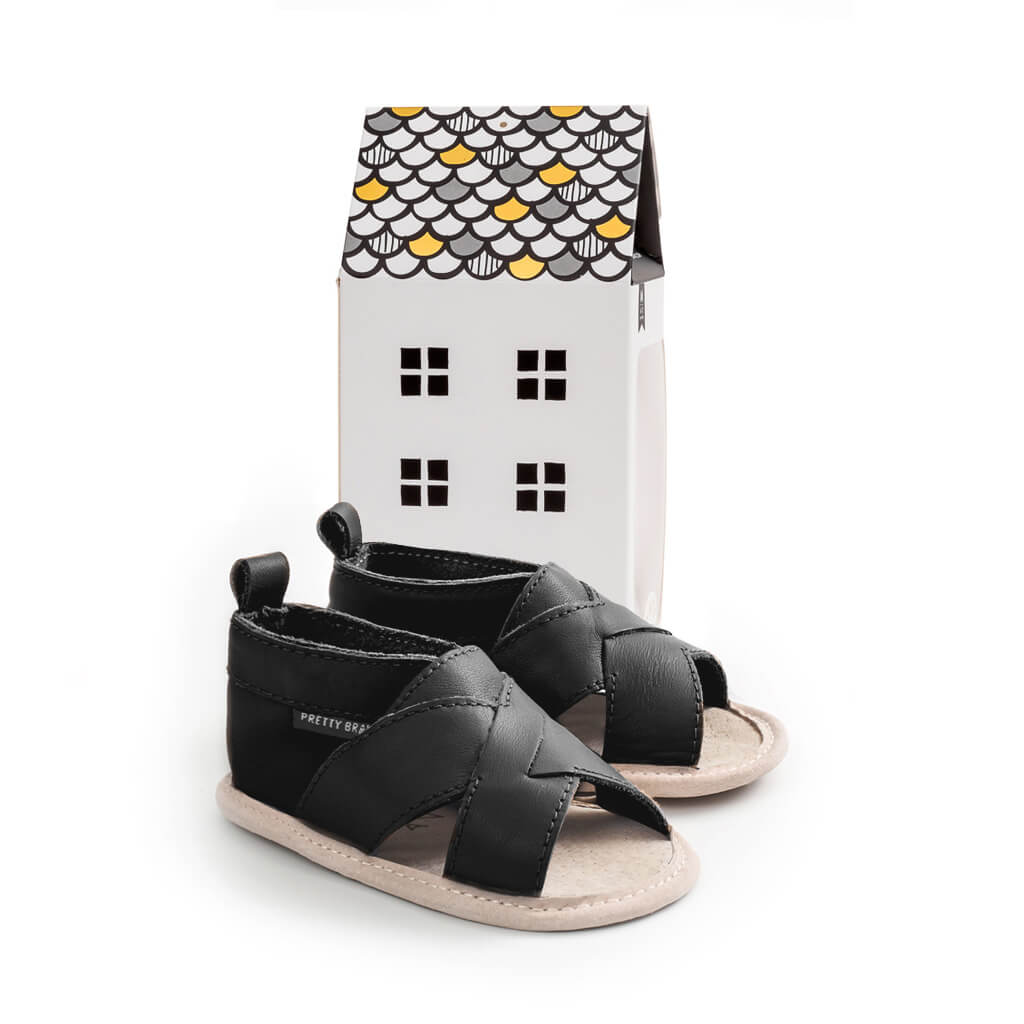Pretty Brave Cross Over Sandal – Black gift packaging
