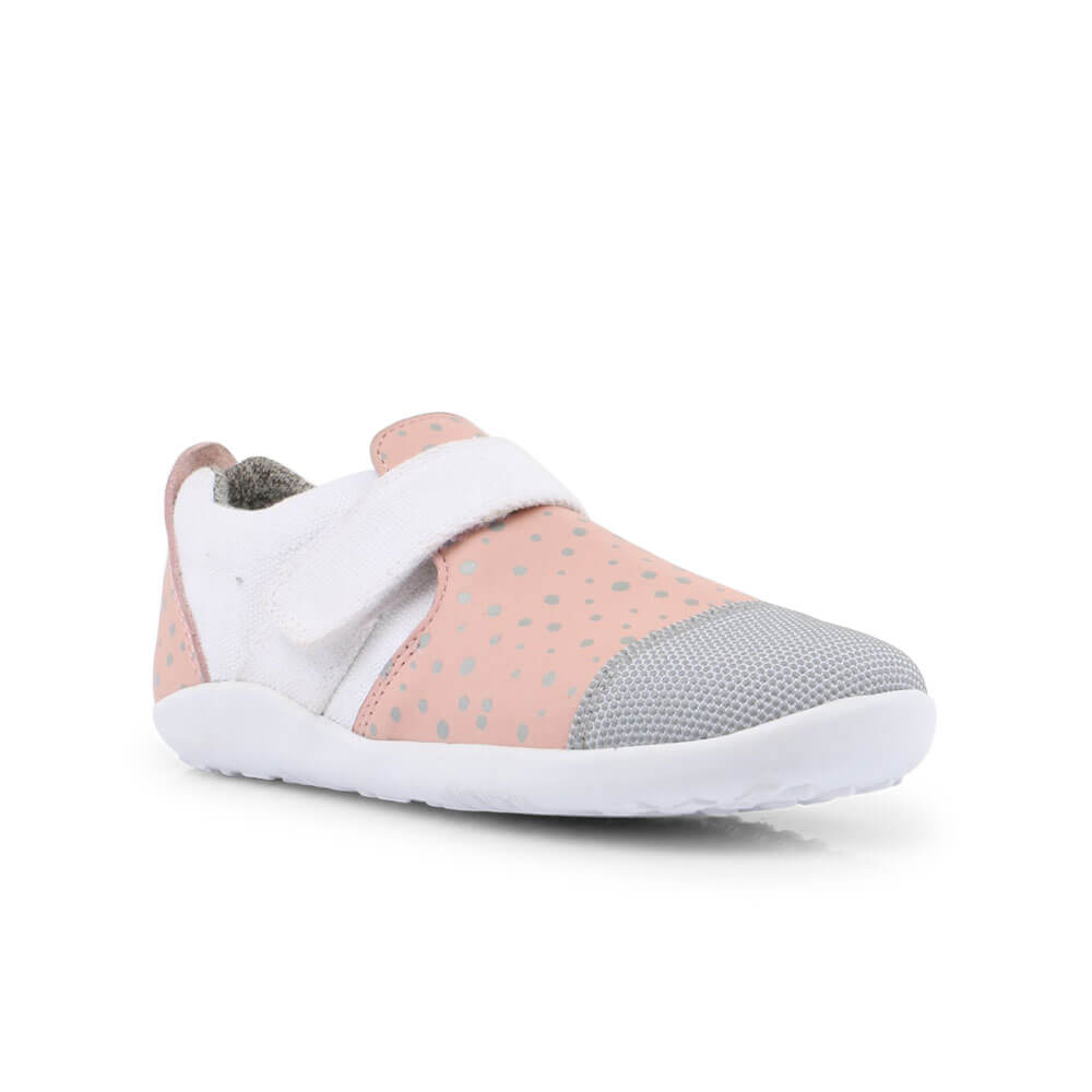 Bobux Aktiv Plus Sneaker - Blush/Silver Splash angle right
