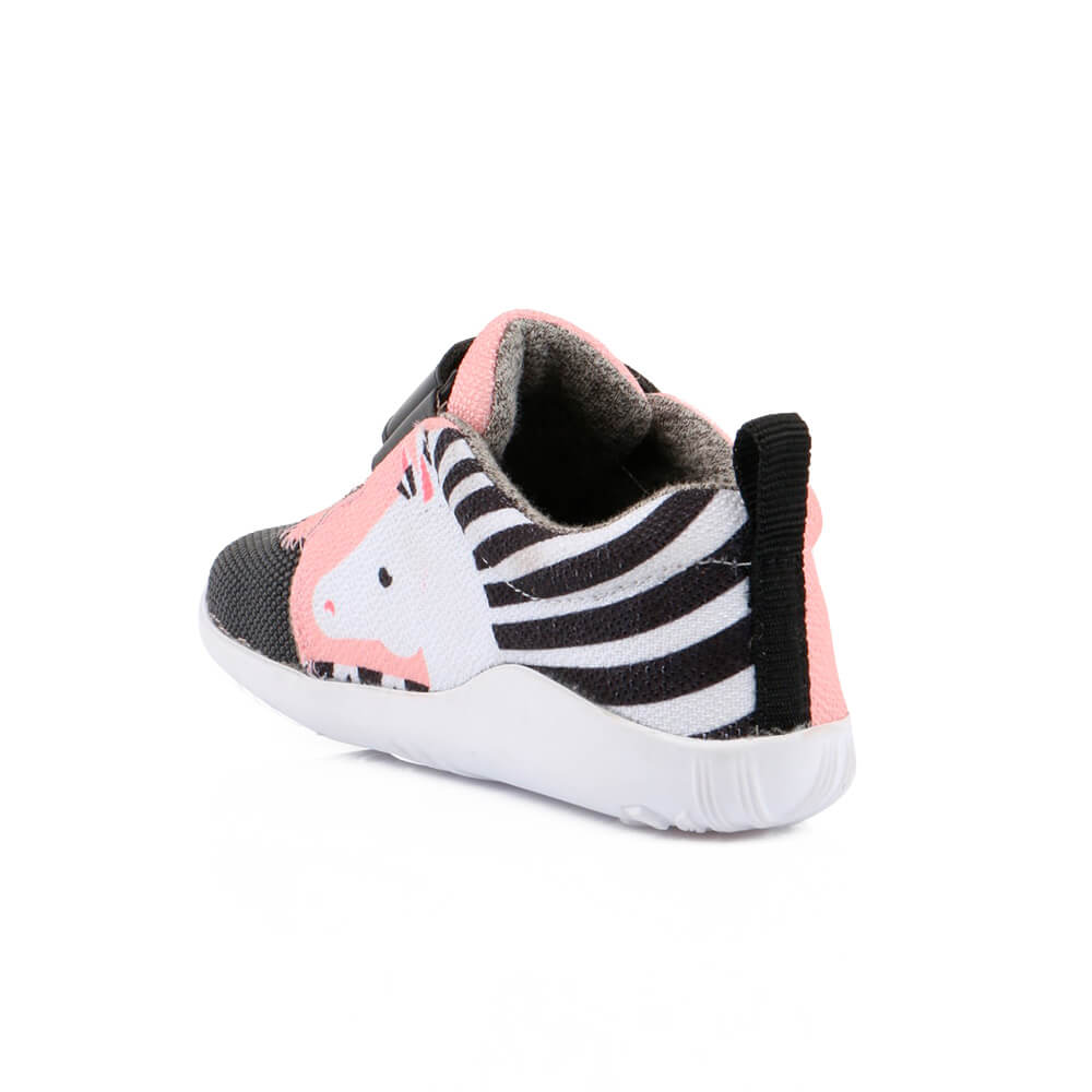 Bobux blaze sneaker zebra grey outside