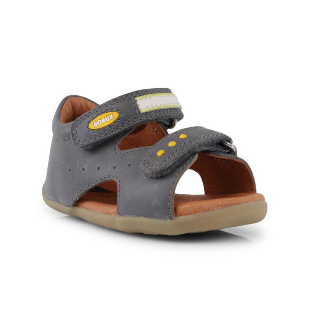 Bobux Boys Trek Leather Sandal - Charcoal front