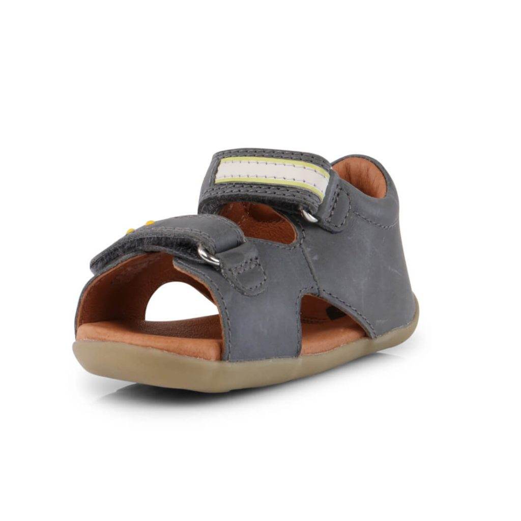 Bobux Boys Trek Leather Sandal - Charcoal inside