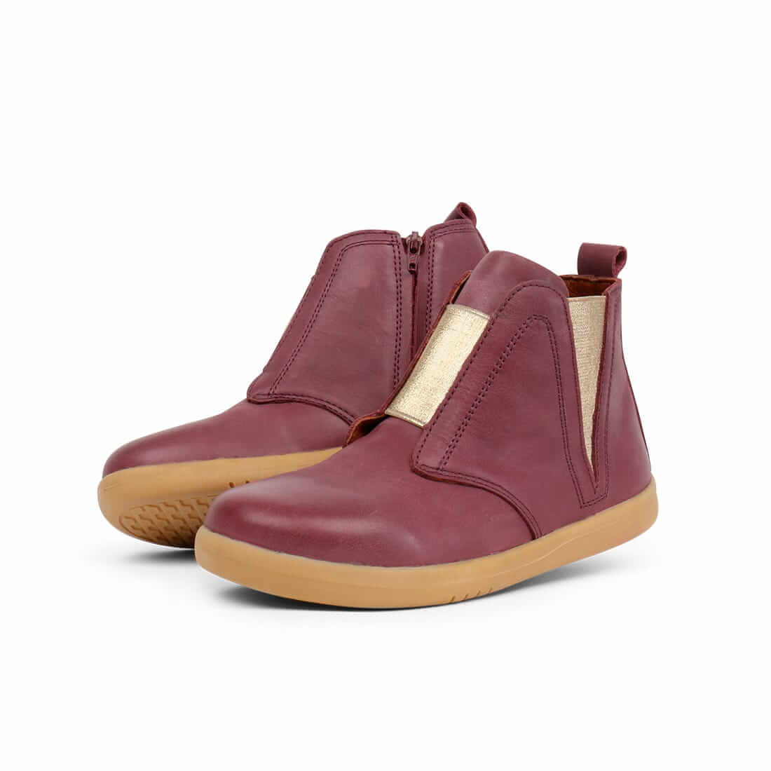 Bobux Signet Kid+ Boots – Plum W/Gold angle