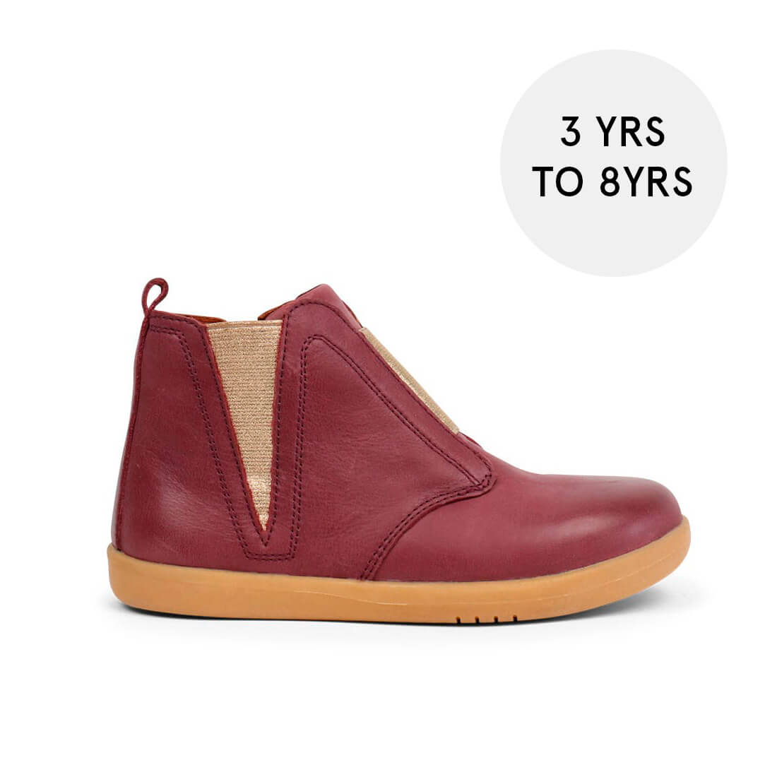 Bobux Signet Kid+ Boots – Plum W/Gold side