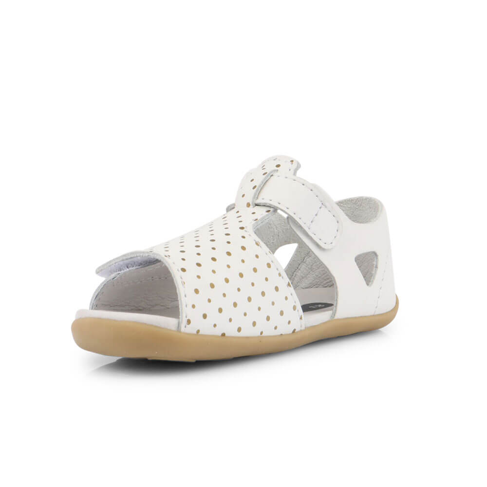 Bobux Mirror Sandal - White with Gold front inside