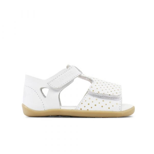 Bobux Mirror Sandal - White with Gold side