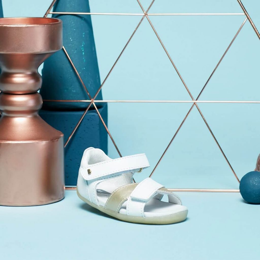 Bobux Step-Up Sail Sandal - White + Misty Gold