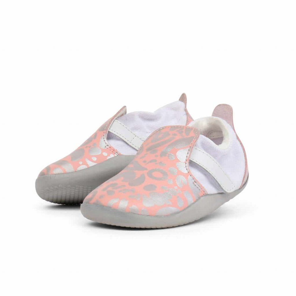 Bobux Xplorer Abstract Step Up Sneaker – Silver & Pink angle