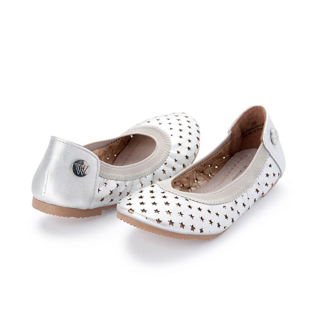 Walnut Catie Starlight Silver Girls Ballet Shoe angle