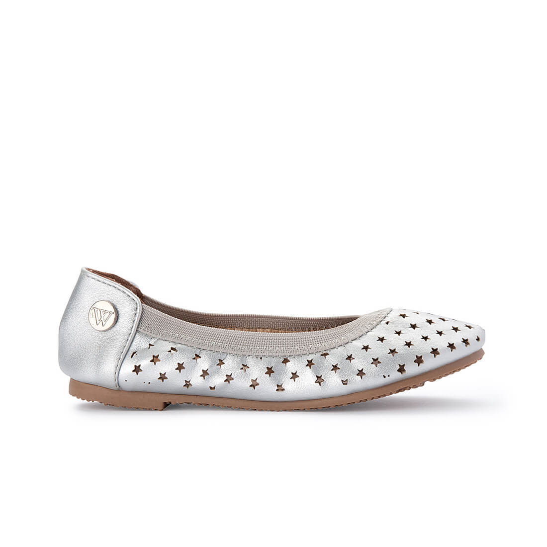 Walnut Catie Starlight Silver Girls Ballet Shoe side
