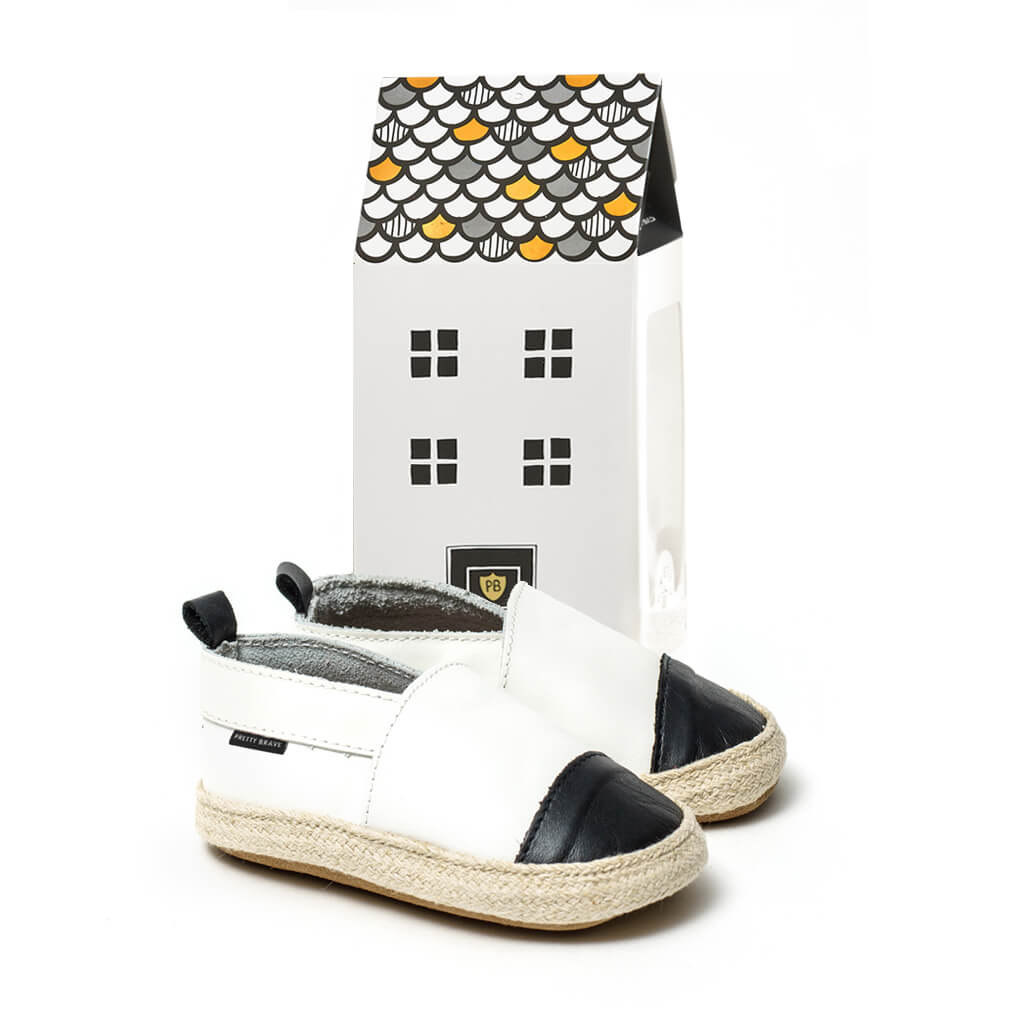 Pretty Brave Espadrille – White / Black gift packaged