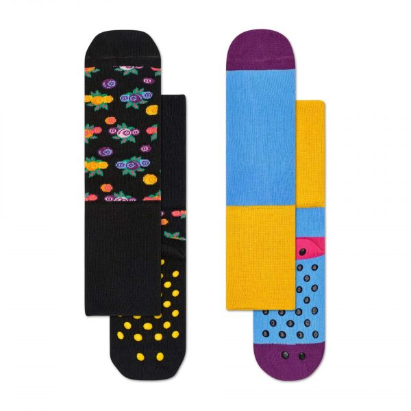 Happy Socks 2 pack berry anti slip socks