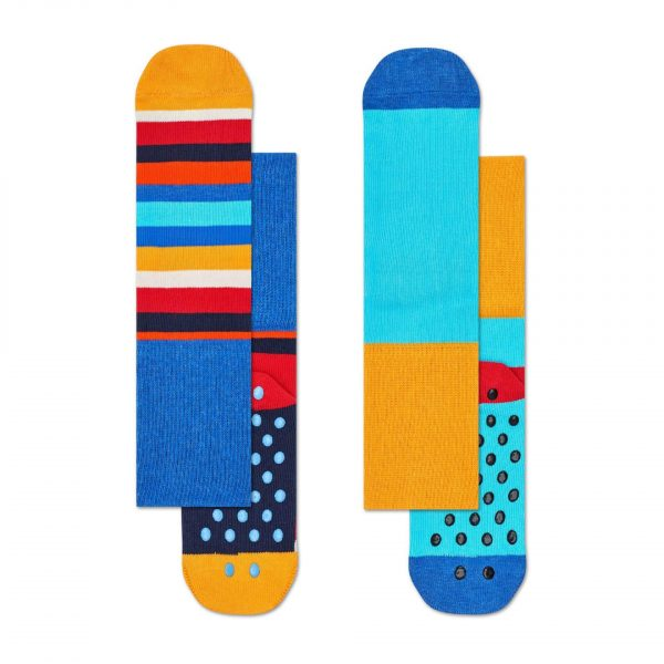 Happy Socks 2 pack stripe anti slip socks