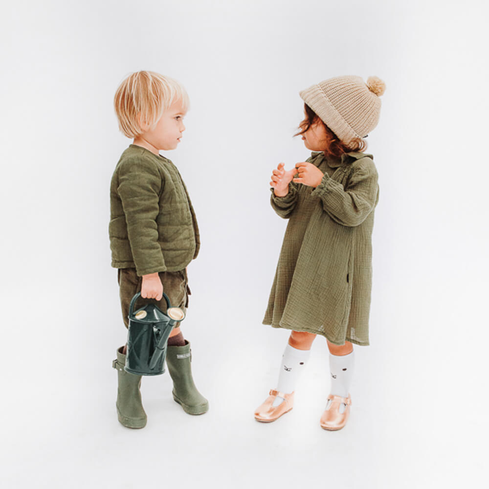Hubble & Duke Gumboots Khaki couple kids