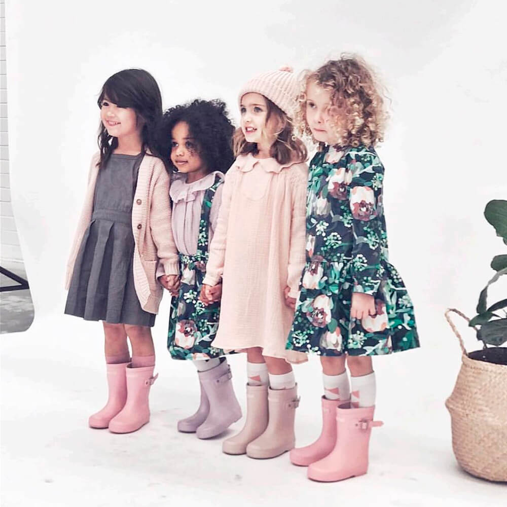 Hubble & Duke Gumboots Powder Pink girls wearing gumboots