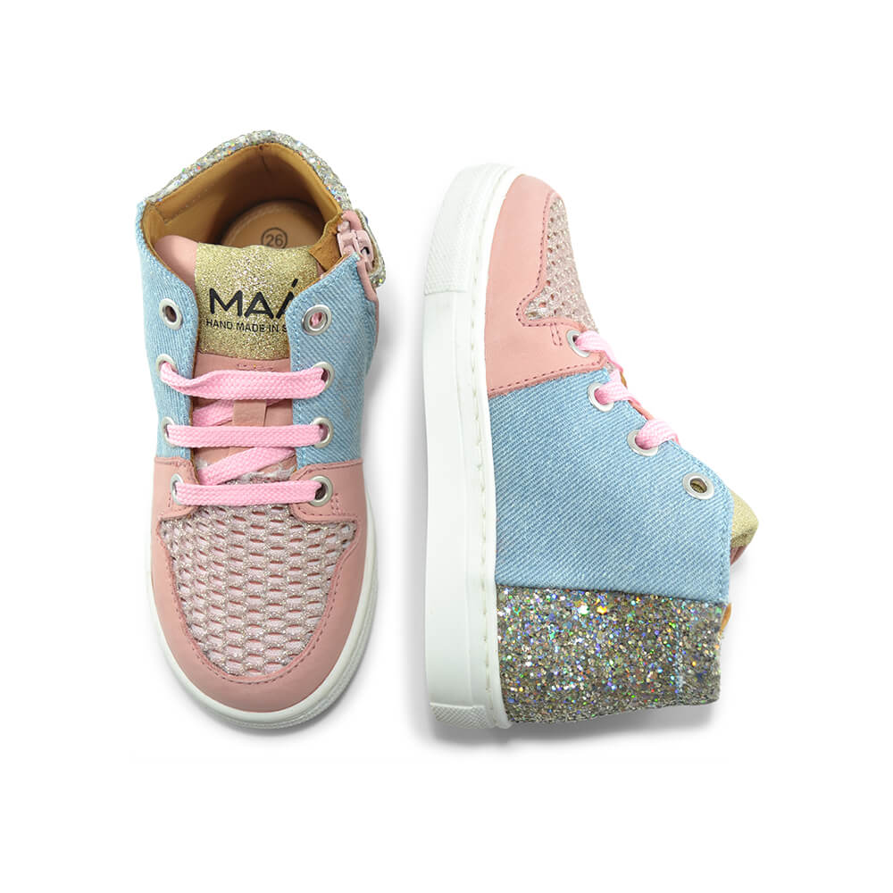 Jaruco Light Pink/Denim Sneaker top angle pair
