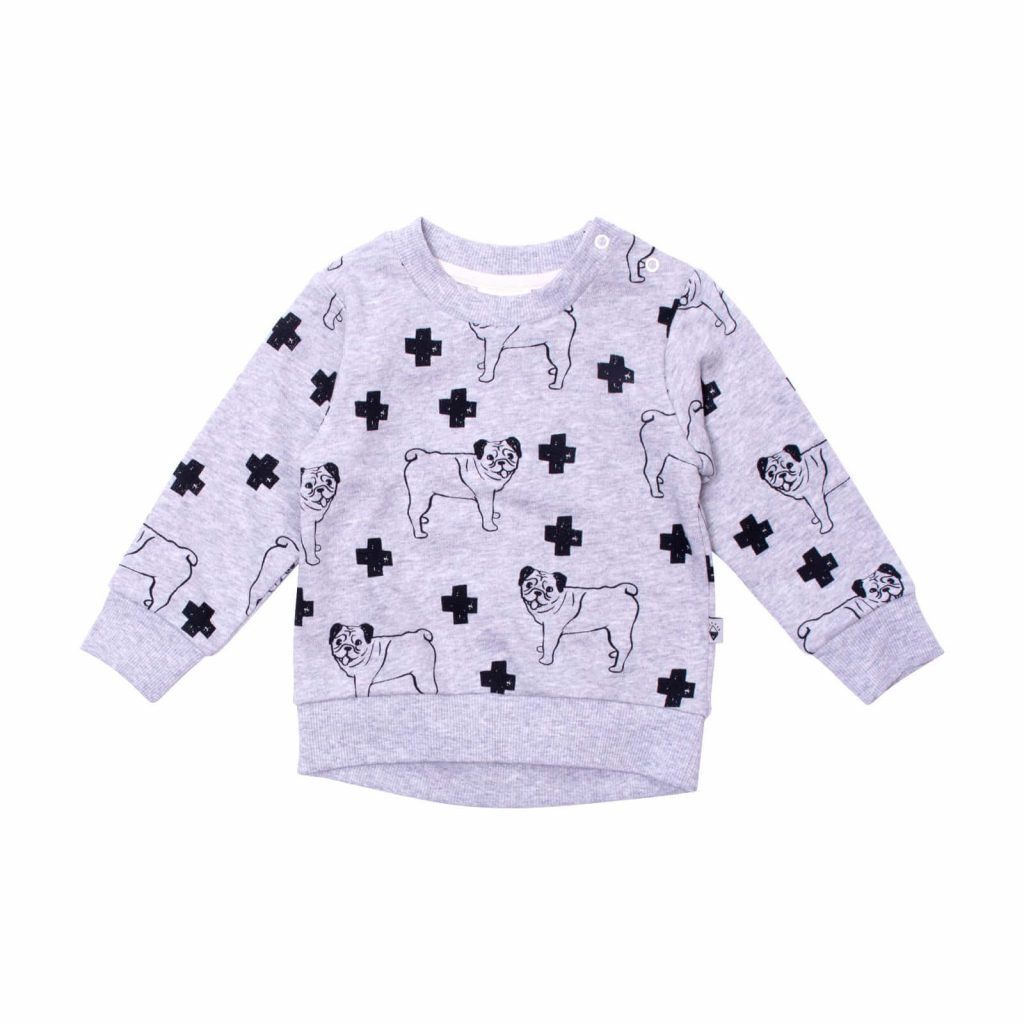Milk and Masuki Baby Long Sleeve Body Jumper Pugs