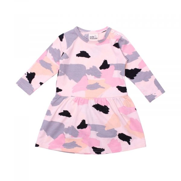 Milk and Masuki Baby Long Sleeve Bodysuit Dress Colourdrift