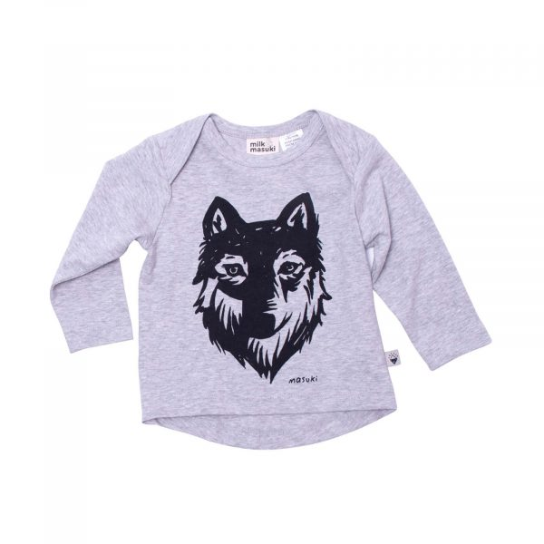 Milk and Masuki Baby Long Sleeve Tee Wolf
