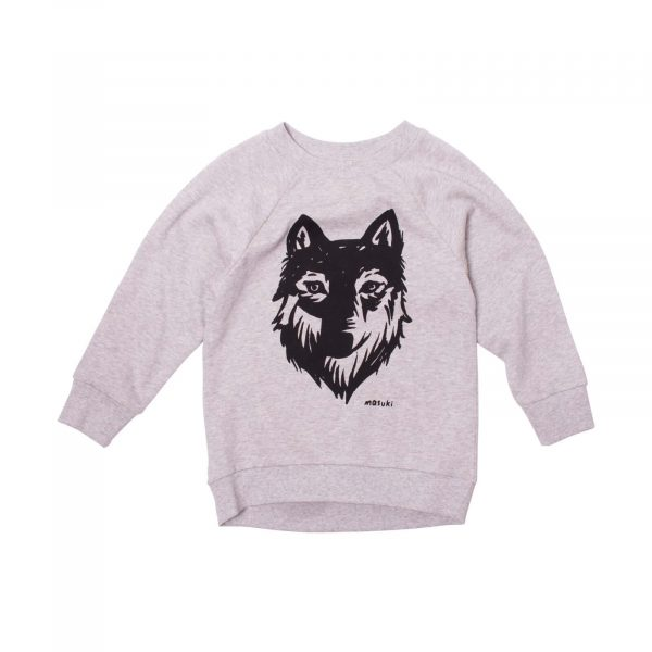 Milk and Masuki Boys Crew Neck Jumper Wolf