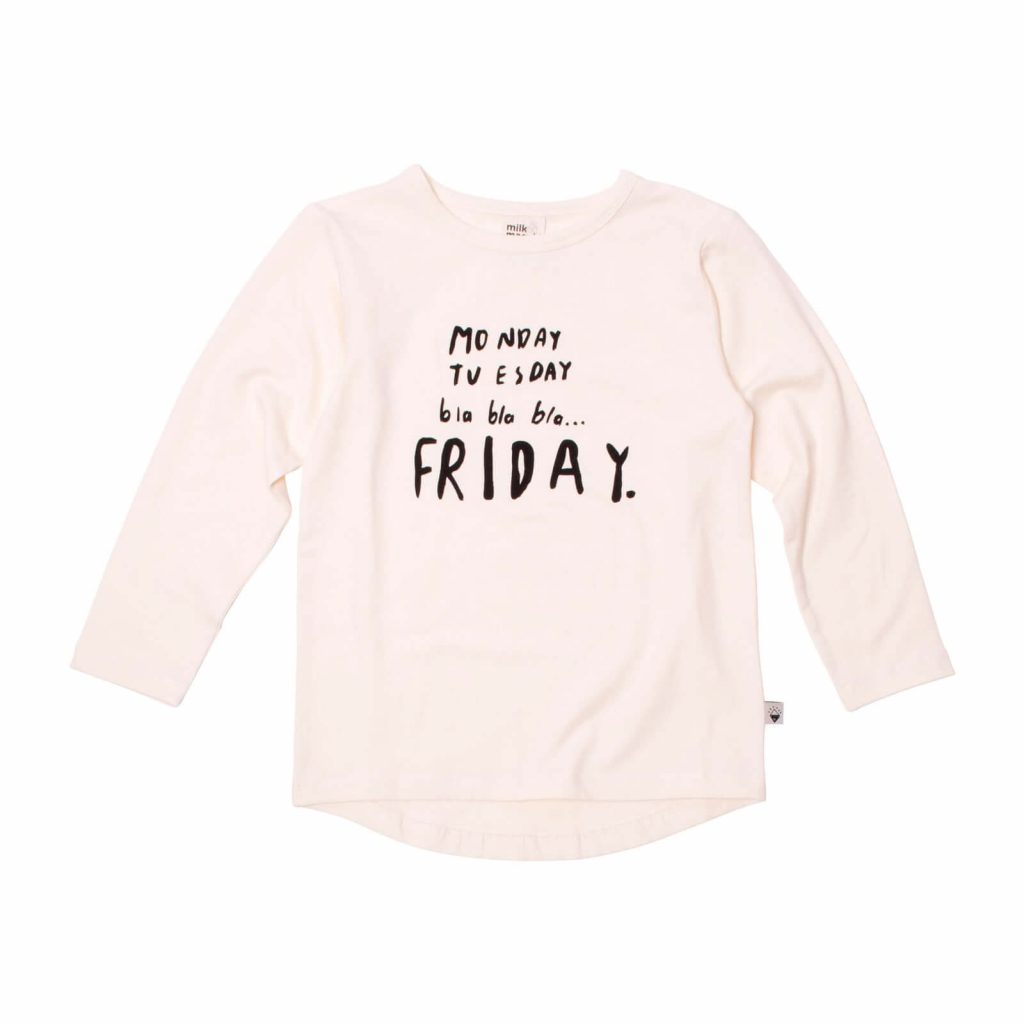 Milk and Masuki Girls Long Sleeve Tee Monday Friday
