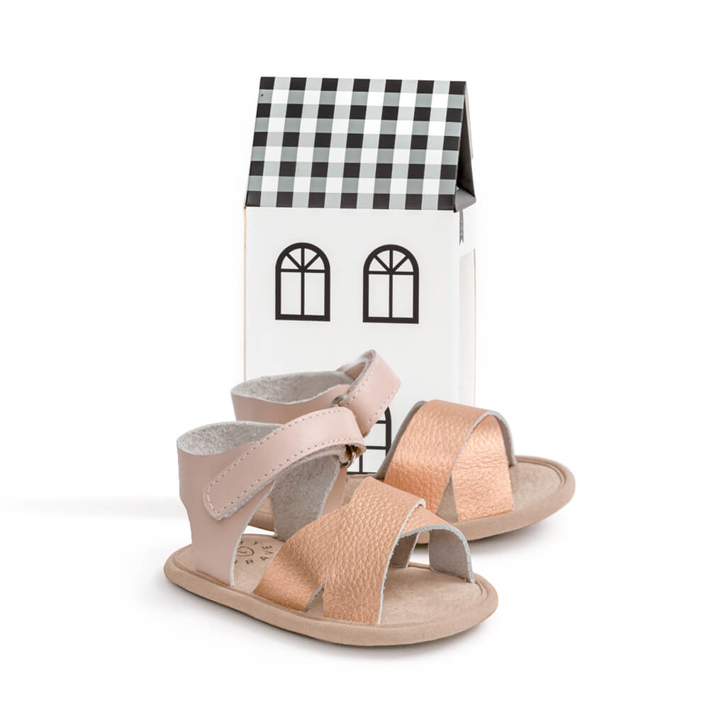 Pretty Brave Valencia Sandal – Rose Gold gift packaged