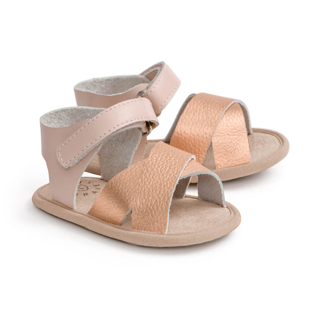 Pretty Brave Valencia Sandal – Rose Gold side pair