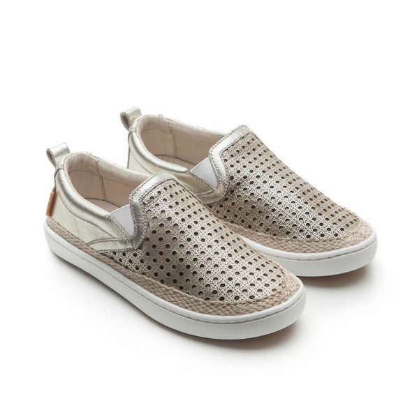 Tip Toey Joey Straw Slip On Sneaker - White Gold side