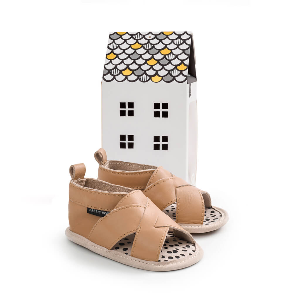 Pretty Brave Cross Over Sandal – Tan gift packaging
