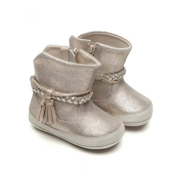Tip Toey Joey Fairy Baby Boot – Gold Suede side