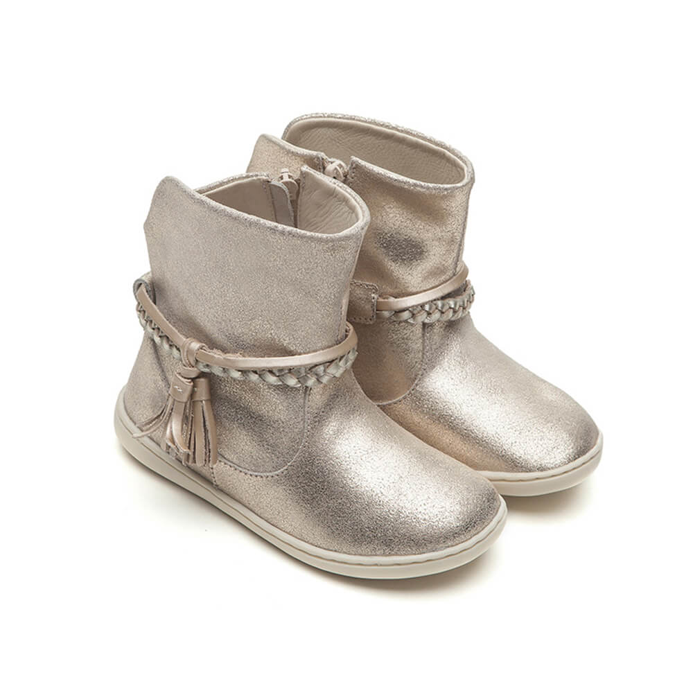 Tip Toey Joey Little Fairy Boot – Gold Suede side