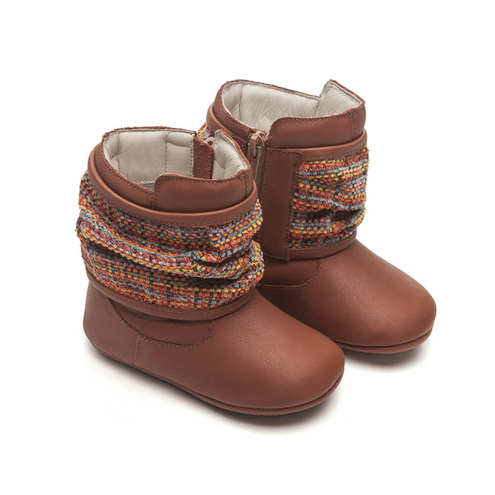 Tip Toey Joey Drapey Baby Boot - Orange Burning Wood side