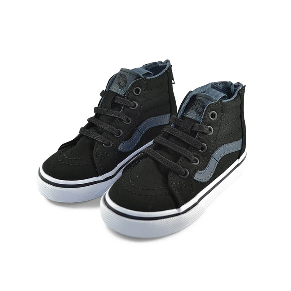 Vans Kids SK8-Hi Zip Sneaker – Black on Black side pair