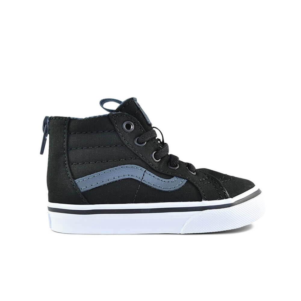 Vans Kids SK8-Hi Zip Sneaker – Black on Black side
