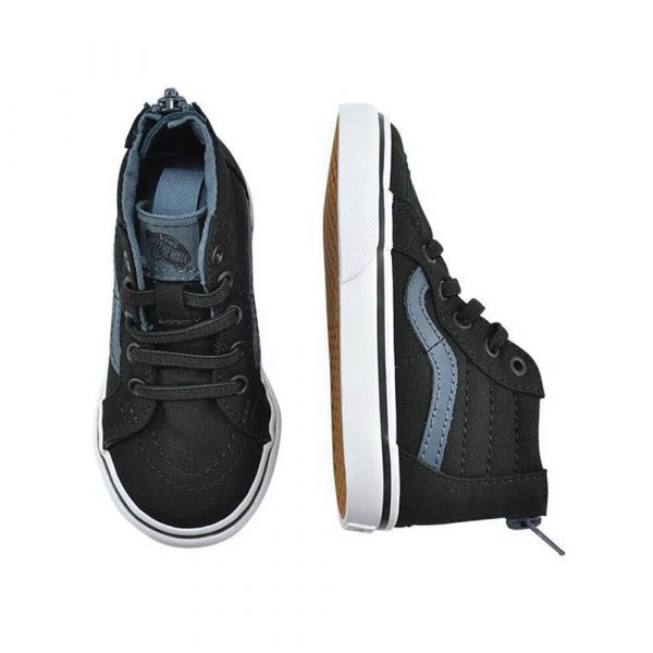 Vans Kids SK8-Hi Zip Sneaker – Black on Black angle pair