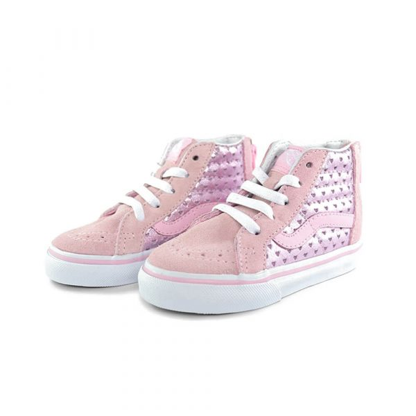 Vans Kids SK8-Hi Zip Sneaker – Pink Hearts side pair