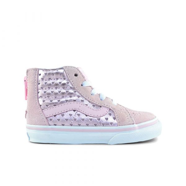 Vans Kids SK8-Hi Zip Sneaker – Pink Hearts side