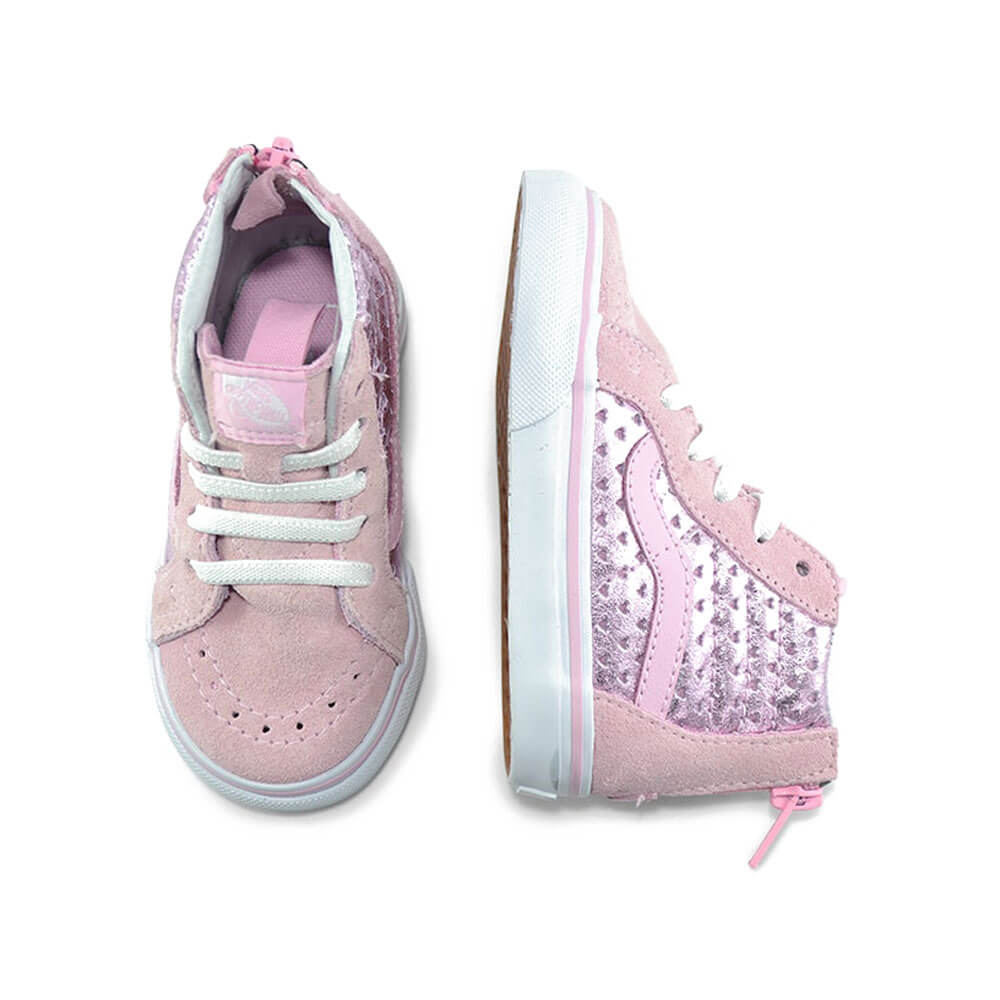 Vans Kids SK8-Hi Zip Sneaker – Pink Hearts top angle pair