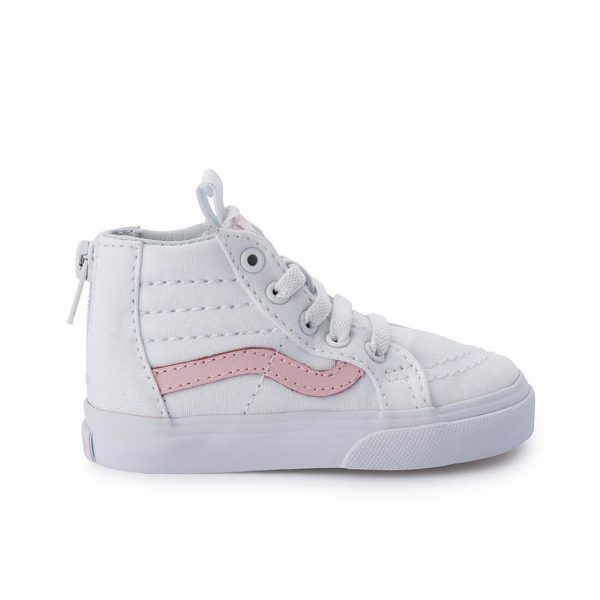 Vans Kids SK8-Hi Zip Sneaker – White/Pink side