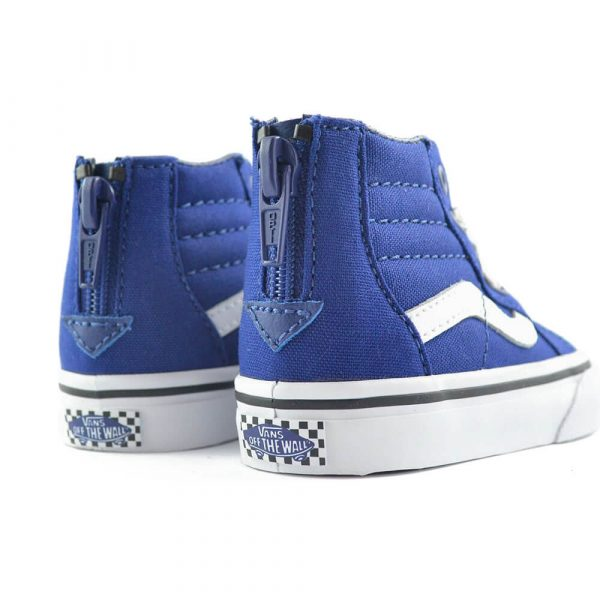 vans kids SK8 hi zip sneaker blue/white back pair