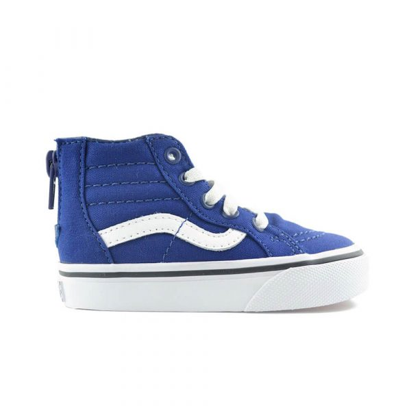 vans kids SK8 hi zip sneaker blue/white side